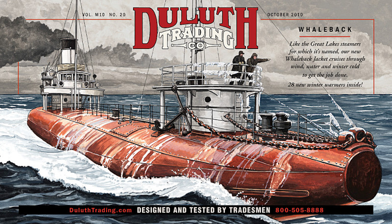 Whaleback Steamer Ship Drawing / Illustration