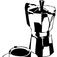 Moka Pot & Cup, rubylith
