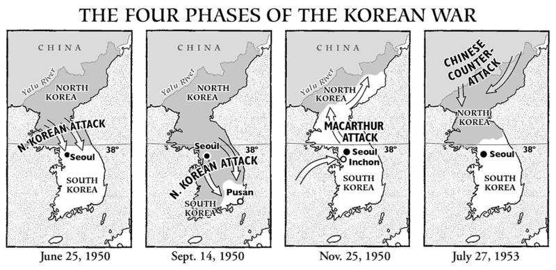 Map of the korean war 1950 through 1953 korean war map gumiabroncs Image collections